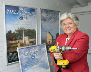 Athelstaneford Posters Launch at Drem station. Provost Sheena Richardson