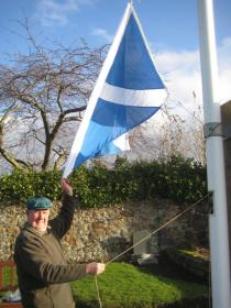 Hoisting the Scottish Saltire